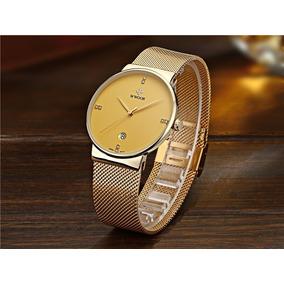 ae0dd26174e Relogio Ultra Fino Wwoor Dourado - Relógios no Mercado Livre Brasil