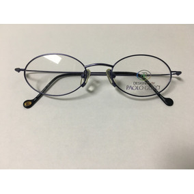 900ad7dea16 Armação P  Óculos De Grau Paolo Gucci Azul Banhado Em Ouro
