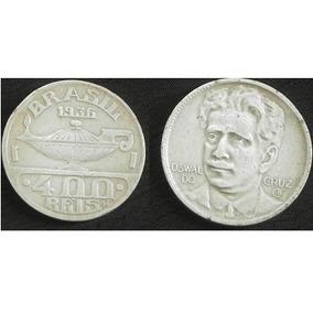 Moedas Réis: 400 1936 Oswaldo - 400 1938 Getúlio-1000 1927