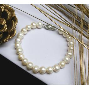 Pulsera De Perlas De Río Auténticas, Brazalete De Perlas