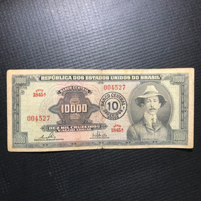 Cédula 10000 Cruzeiros Santos Dumont Com Carimbo 1967 Mbc