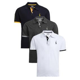 Kit Com 3 Camisas Polo Giraffe Piquet Original Modelo 2019