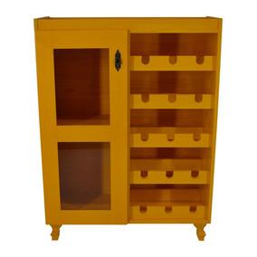 Adega P/ Vinho Madeira Pinus Amarela Bar Estante Aparador