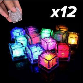 12 Hielos Luminosos Led Colores Fiestas Bebidas Boda Paquete