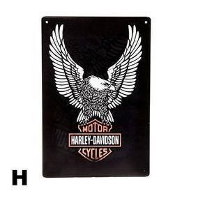 Moda Vintage Retrô 4 Placa Quadro Harley Davidson Liquidação
