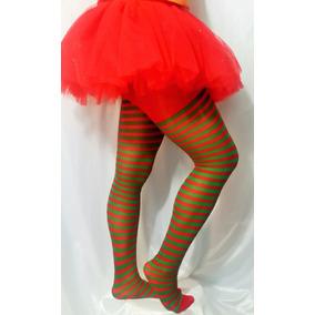 Pantimedia Media Rayada Disfraz Hallowen Duende Rojo Verde