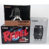 Combo Cámara Canon T6i, Lente Macro 100, Macro Ring Flash