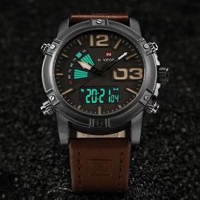 Relógio Masculino Naviforce Nf9095 Couro Digital E Analógico