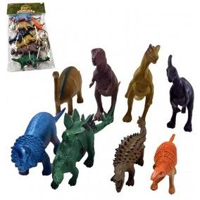 Kit Mini Dinossauros De Borracha 8 Peças