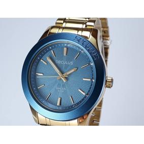 Relógio Seculus Masculino Dourado Azul Original 28744lpsvda1