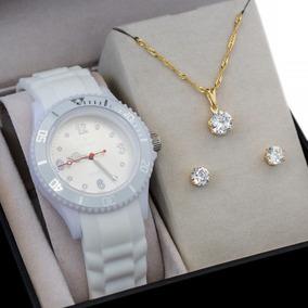 Relógio Nowa Feminino Branco Nw0520bk Borracha + Kit Brinde