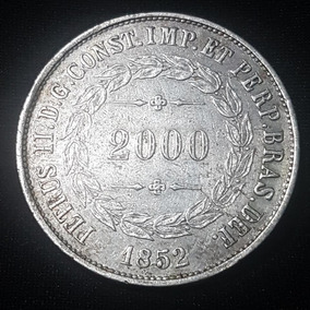 Moeda 2.000 Réis 1852 1º Tipo - Cunhagem: 276.975