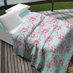 Colcha Casal Teka Azul Estampa Floral 90 Fios Camile
