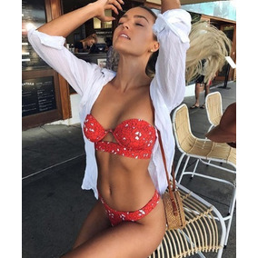 Bikini Traje De Baño Push Up Strapples Floral Negro Rojo Caf