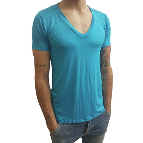 Camiseta Básica Slim Gola V Funda Manga Curta Elastano