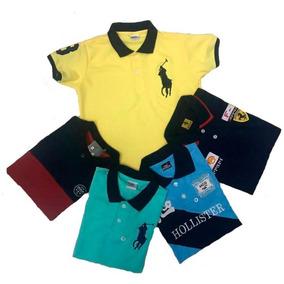 Kit 5 Camisas Camisetas Polo Infantil E Juvenil Menino.1ao16 e02ffcd18120f