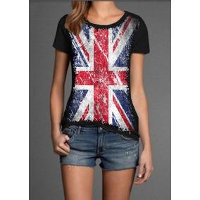 bcde37963f Camiseta blusa Feminina Bandeira Inglaterra - Camisetas Manga Curta ...