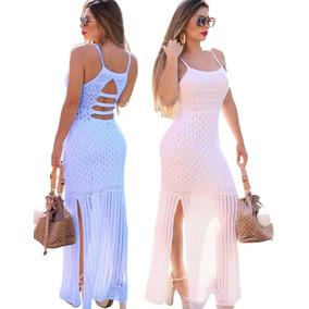 Vestido Longo Festa Verão Tricô Rendado Fenda Nas Pernas