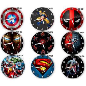 Kit C/ 6 Relógios Parede Atacado Super Heróis Marvel Dc