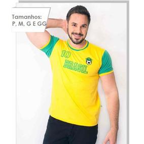 Camisa Camiseta Brasil Bordada Unisex Excelente Qualidade 65894da35ccc8