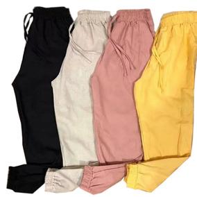 Calça Feminina Linho Jogger Bomber Pantalona