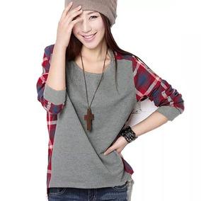 Tsuki Moda Asiatica: Blusa Camiseta Cuadros Tartan Casual