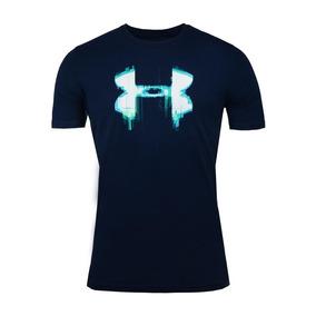 Playera Under Armour Glitch Logo Azul Hombre Original Meses