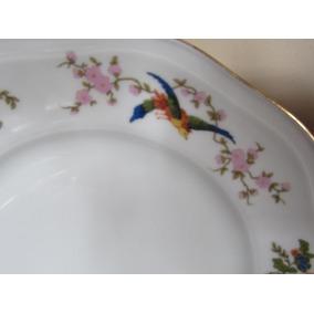 Pratos Porcelana Czechoslovakia Decoração Passaros E Floral