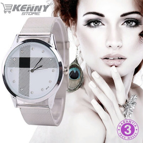 Relógio Feminino Fashion Luxuoso Prata Aço Inoxidável