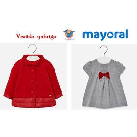 Conjunto Mayoral Vestido Y Abrigo Rojo 2487, 6 Meses A