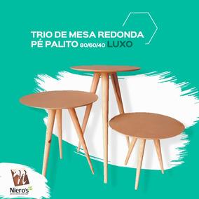 Trio De Mesa Redonda Pé Palito 80/60/40 Luxo