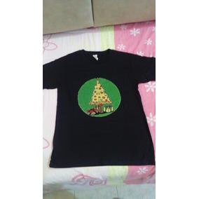 Playera Negra Camiseta Navidad Estampado Pizza Talla Chica 96b5a77f83285