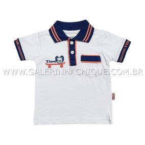 Camisa Polo Tigor T.tigre Branca Com Gola Azul 10202607 93773081e84c7