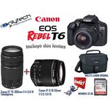 Camara Canon Rebel T6 Incluye 2 Lentes,memoria 32gb Y Maleta