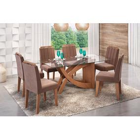 Sala De Jantar Cimol Mesa Flávia 180cm Com 6 Cadeiras Elisa