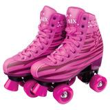 Patins Roller Skate Com 4 Rodas Fênix - 179rl01r Rosa
