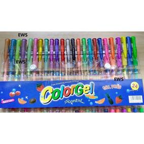 24 Canetas Gel Coloridas Perfumadas Glitter Neon Tons Pastel