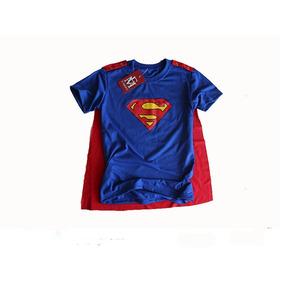 Camiseta Infantil Superman Com Capa Removível