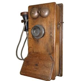 Telefone De Parede Em Pinho De Riga/madeira De Lei Funciona
