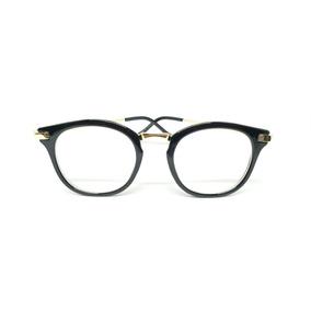 afc474eb1 Óculos Armação De Grau Gatinho Redondo Detalhe Dourado Haste