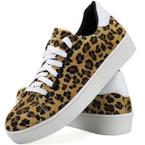 7ccca970212 Sapatênis Sapato Casual Feminina Flatform Onça Exclusivo Dhl