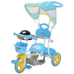 Triciclo Infantil Passeio Com Empurrador 2 Em 1 Motoca- Azul