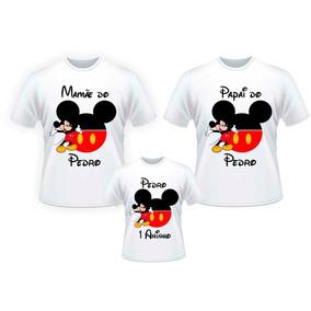 Kit 3 Camisas Mickey Pai Mãe Filho Aniversário Personalizada