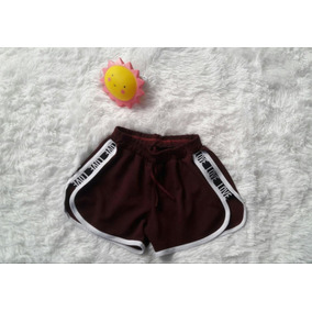 Short Curto Estampa Lateral Love Regulagem Na Cintura