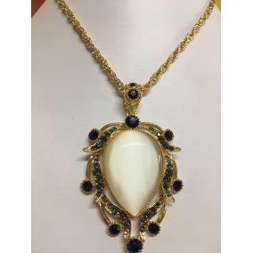 Collar Ojo De Gato Y Cristales Azul Zafiro En Chapa De Oro 1