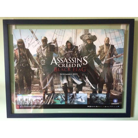 Pôster Autografado Assassins Creed Iv Black Flag Na Moldura