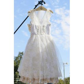 Vestido De Noiva Retrô Bordado A Mão - Pó De Arroz
