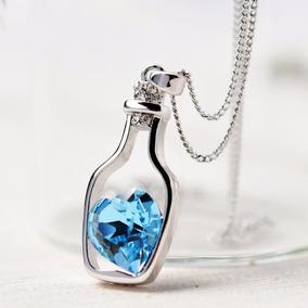 Collar Botella Corazón Cristal Austriaco + Caja Envío Gratis