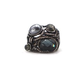 Anillo Enlazado Con Perlas Y Piedras