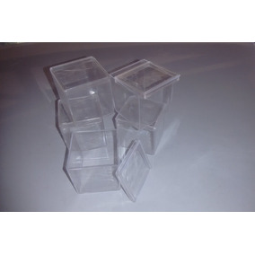 30 Caixinha Acrílica 4x4cm Cristal Tampa Lembranca Presente